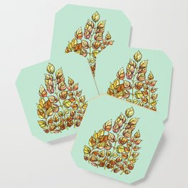Hand drawn watercolor  golden leaves Coaster