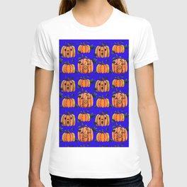 Halloween pumpkins pattern on blue T-shirt