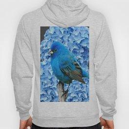 BLUE BIRD & BLUE HYDRANGEAS GREY ART Hoody