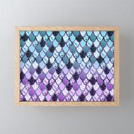 Purple Teal Mermaid Princess Glitter Scales #1 #shiny #decor #art #society6 Framed Mini Art Print