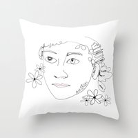 jane austen Throw Pillows featuring Jane Austen by Skatty k