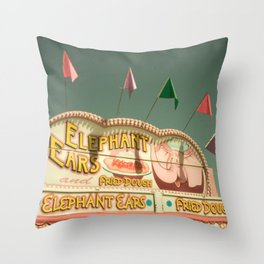 Elephant Ears Funnel Cakes Carnival Fair Whimsical Foodie Pastel Home Decor Art Throw Pillow