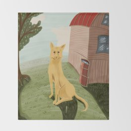 Yellow dog Throw Blanket