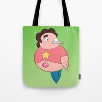 steven universe Tote Bags featuring Steven Universe: Steven (green background) by Birbles