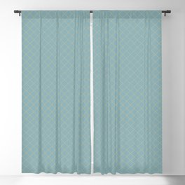 Earthy Green on Tranquil Blue Parable to 2020 Color of the Year Back to Nature Angled Grid Pattern Blackout Curtain