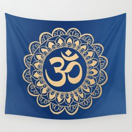 Blue and Gold Ohm Mandala Wall Tapestry