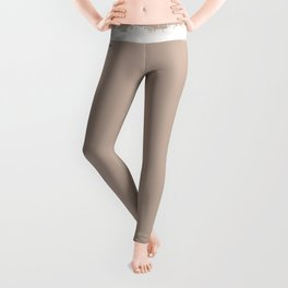 Square Strokes White on Nude Leggings