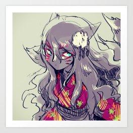Fox girl sketch Art Print
