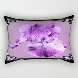 Lilac Color Purple Iris  Black Art Noveau Design  Rectangular Pillow