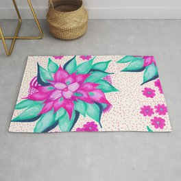 Bold hand painted modern watercolor flowers dots Rug