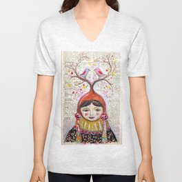 Birds and thoughts and love and magic Unisex V-Neck