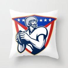 American Football Quarterback Throw Ball Throw Pillow