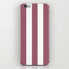 Rose Dust purple - solid color - white vertical lines pattern iPhone Skin
