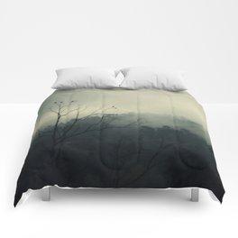 moody fog mountain Comforters