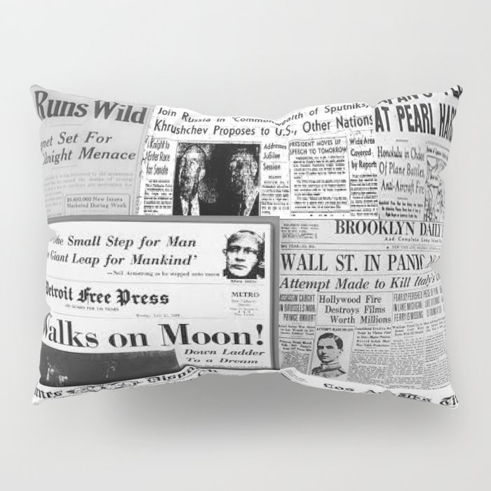 Vintage News Headlines Pillow Sham