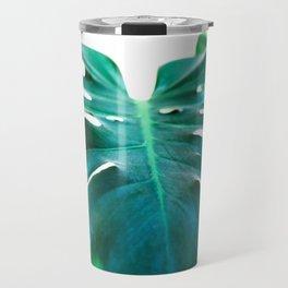 Monstera close up tropical leaf green turquoise photograhy Travel Mug