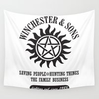 winchester Wall Tapestries featuring SUPERNATURAL WINCHESTER AND SONS by thischarmingfan