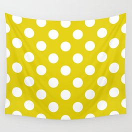 Citrine - green - White Polka Dots - Pois Pattern Wall Tapestry