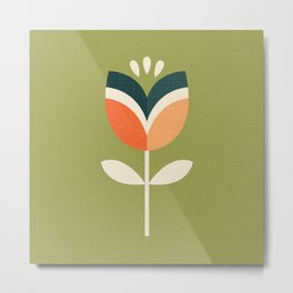 RETRO TULIP - ORANGE AND OLIVE GREEN Metal Print