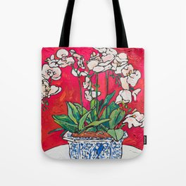 Orchid in Blue-and-white Bird Pot on Red after Matisse Tote Bag