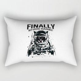 Space Cat Finally No More Humans Rectangular Pillow