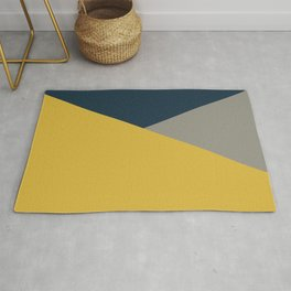 Envelope - Minimalist Geometric Color Block in Light Mustard Yellow, Navy Blue, and Gray Rug