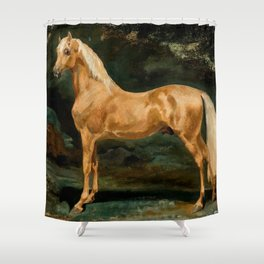 "Théodore Géricault ""Palomino Arabian Stallion frightened by two felines"" Shower Curtain"