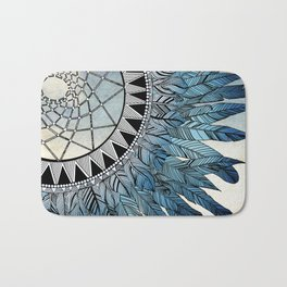 blue feather dreamcatcher Bath Mat