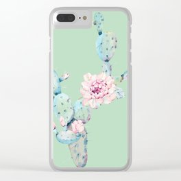 Rose Desert Cactus Mint Green + Pink Clear iPhone Case