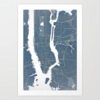 New York City - Detailed Road & Subway Map Art Print