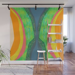 Shapes and Layers no.25 - Abstract painting Blue, Green, pink, yellow orange Wall Mural