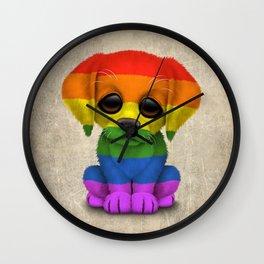 Cute Puppy Dog with Gay Pride Rainbow Flag Wall Clock