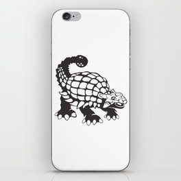 Ankylosaurus Dinosaur Prehistoric Black and White iPhone Skin