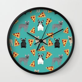frenchie pizza cute funny dog breed pet pattern french bulldog Wall Clock