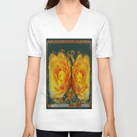 shabby chic V-neck T-shirts featuring Antique Style Shabby Chic Yellow Roses Green Art by SharlesArt