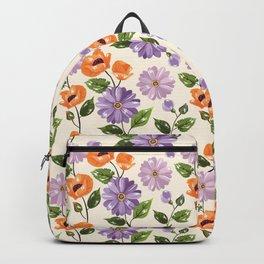 Rustic orange lavender ivory floral illustration Backpack