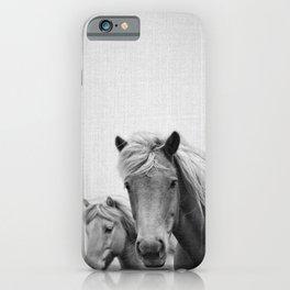 Horses - Black & White iPhone Case