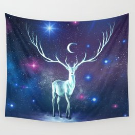 Reindeer Lost In Space Wall Tapestry