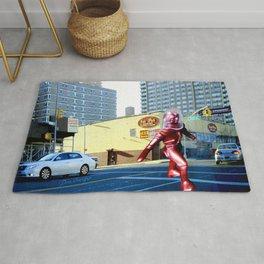 Spaceman crossing Kissina Boulevard in Queens New York Rug