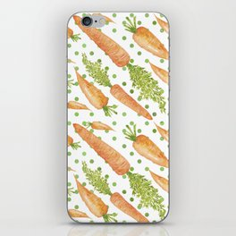 Carrots on Dotted Green Backgrond Watercolor iPhone Skin