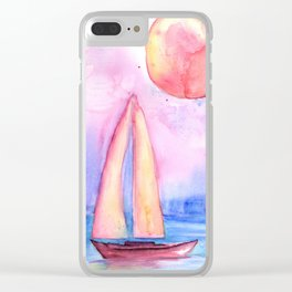 sail under the moon Clear iPhone Case