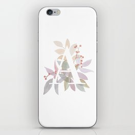 Fall Floral Monogram A - Rustic Alphabet Typography iPhone Skin