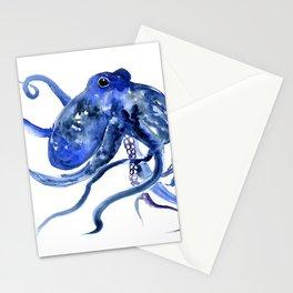 Octopus Design Blue Navy Blue Beach, cute ocotpus texture art Stationery Cards