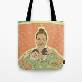 Mother with Twins Tote Bag