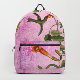 Hummingbird with Trumpet Vine, Vintage Natural History Collage Backpack