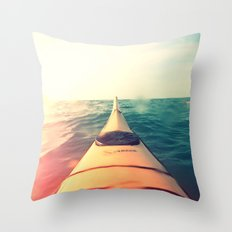 Yellow Kayak in Water Color Nature Photography Throw Pillow