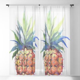 Pineapple, pina-colada, pineapple kitchen tropical design Sheer Curtain