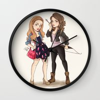 teen wolf Wall Clocks featuring Teen Wolf Ladies by Laia™