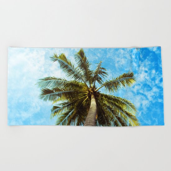 Palm Trees In The Sky Beach Towel