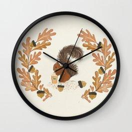 Pumpkin Spice Squirrel Wall Clock